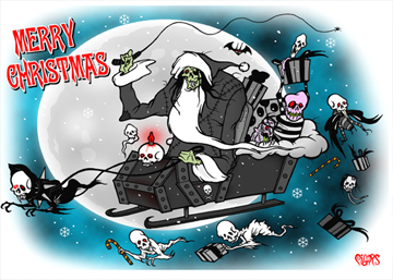 Merry Christmas Sleigh Toxic Toons Spooky Greeting Card