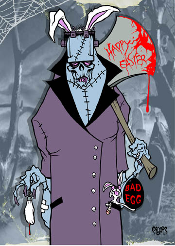 Happy Easter Monster Bunny Toxic Toons Spooky Greeting Card