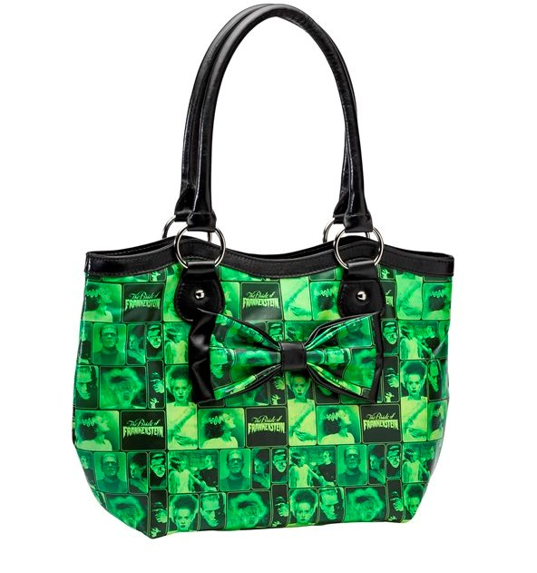 Rock Rebel Green Tile Monster Frankenstein and Bride Handbag