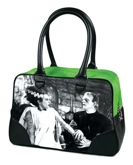 Green Glitter Universal Monsters Frankenstein and Bride Purse