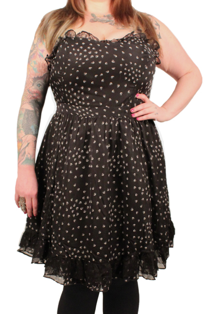 Tripp Plus Size Gothic Chiffon Lace Black & White Skull Poison Dress