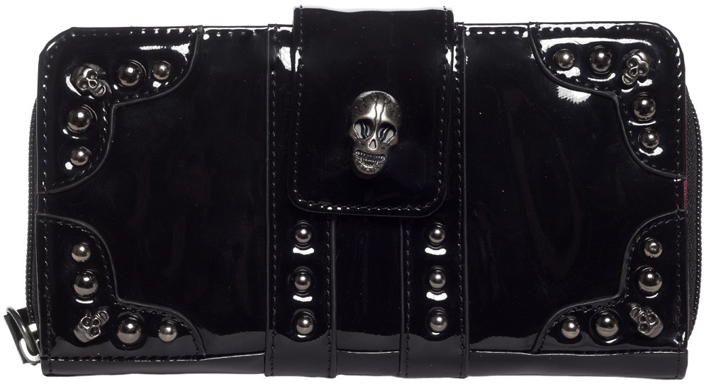 Rock Rebel Black PVC Skull Stud Parlor Wallet