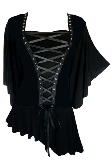 Plus Size Gothic Black Alchemy Corset Stud Top in Onyx