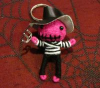 Freddy Kruegerz Black and Pink Voodoo Keychain