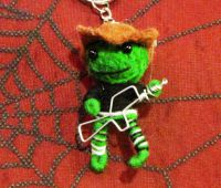 Green and Black Machine Gunman Voodoo Keychain