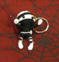 White and Black Ninja Voodoo Keychain