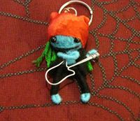 Blue and Black w Red Hair Rocker w Guitar Voodoo Keychain