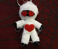 White Black and Red Hearts Mummy Voodoo Keychain