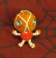 Orange Mummy Screw with Heart Voodoo Keychain