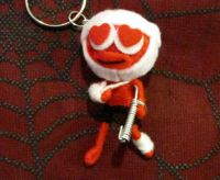 Red and White Love Struck Patient Crutch Sling Voodoo Keychain