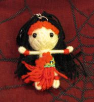 Red and Black Hula Girl Voodoo Keychain