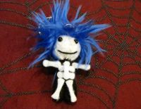 Black and White Skelly with Blue Hair Voodoo Keychain