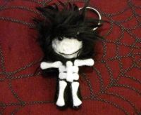 Black and White Skelly with Black Hair Voodoo Keychain