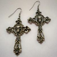 Skull on Filigree Cross Earrings