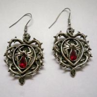 Spider w Red Teardrop Body in Vines Earrings