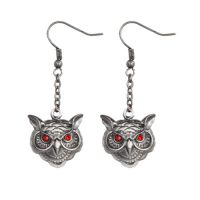 Owl Head Earrings w Red Eyes