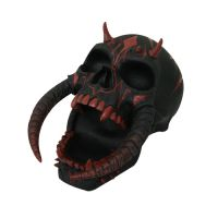 Red and Black Demon Horned Skull