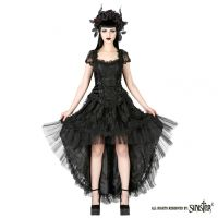 Sinister Gothic Plus Size Black Hi Low Satin Tulle & Lace Skirt