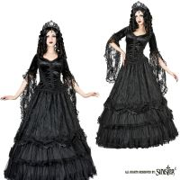 Sinister Gothic Plus Size Black Tiered Venetian & French Lace Satin Roses Long Skirt