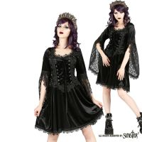 Sinister Gothic Plus Size Black Velvet & Lace Bellsleeve Corset Mini Dress