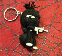 White Bank Robber with Loot Bag Ski Mask Voodoo Keychain