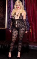 Plus Size Spandex Romantic Floral Lace Footless Bodystocking with Lace Up