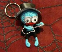 Blue Guitar Man w Glasses Voodoo Keychain
