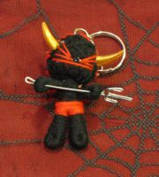 Black and Red Pirate Devil w Gold Horns Pitchfork Voodoo Keychai