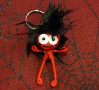 Red and Black Crazy Hair Stickman Voodoo Keychain