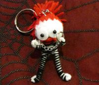 White Red Lady Prisoner w Shackles Voodoo Keychain
