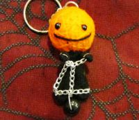 Pumpkin Prisoner w Ball Chain & Shackles Voodoo Keychain