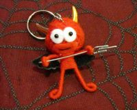 Cartoon Devil Red w Gold Horns Pitchfork Voodoo Keychain