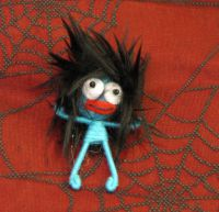 Blue Crazy Hair Man Voodoo Keychain