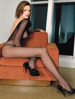 Plus Size V Back Long Sleeved Fishnet Bodystocking