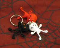 White Red and Black Voodoo Keychain