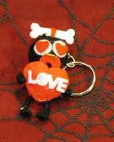 Tiki Man with Bone and Heart Eyes Love Voodoo Keychain