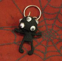 Black Alien Eyes Voodoo Keychain