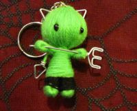 Green Devil Cat Cuties w Pitchfork & Bell Voodoo Keychain