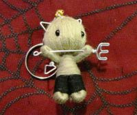 Grey Devil Cat Cuties w Pitchfork & Bell Voodoo Keychain