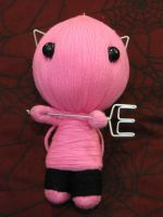 Pink Devil Cat Cutie w Pitchfork Large Voodoo Doll