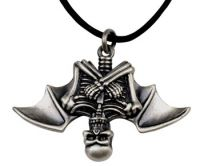 Skull Vampire Bat Pendant Necklace