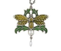 Moth Art Nouveau Pendant Necklace