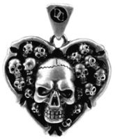 Skull Heart Pendant Necklace