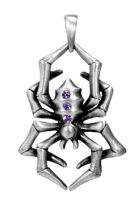 Spyder Pendant Necklace w Purple Stones