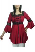 Red Lacing-Up Corset Lace Top Blouse