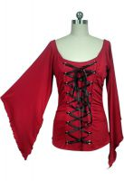 Plus Size Red Stretchy Lace-Up Gothic Corset Jersey Top