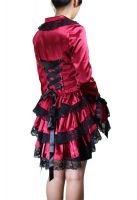 Plus-Size Victorian Gothic Punk Corset Red Satin Jacket