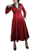 Plus Size Red and Black Gothic Jacquard Long Coat