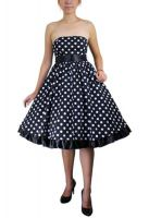 Plus Size Bowknot Polka Dot Black Rockabilly Gothic Pinup Dress