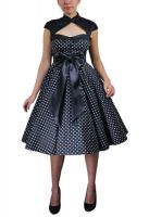 Plus Size Black Archaize Polka Dot Dress